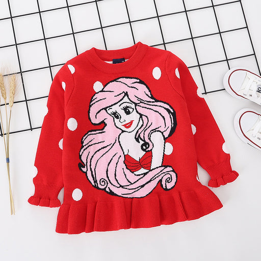 Princess Ariel printed red pure cotton soft sweater for little girls - shopfils.com
