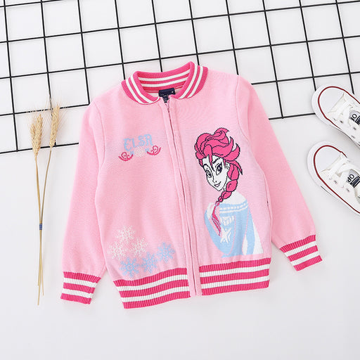 Princess Elsa printed pink pure cotton soft sweater for little girls - shopfils.com