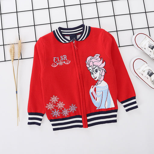 Princess Elsa printed red pure cotton soft sweater for little girls - shopfils.com