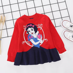 Princess Snow White Printed red pure Cotton Soft Sweater for Little Girls
