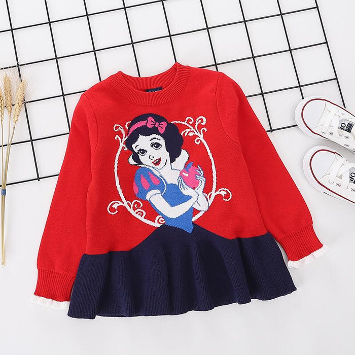 Princess Snow White Printed red pure Cotton Soft Sweater for Little Girls-shopfils.com