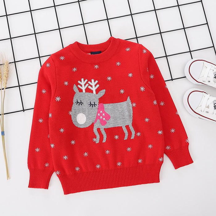 Reindeer Printed Red pure Cotton Soft Sweater for Little Boys and Girls -shopfils.com