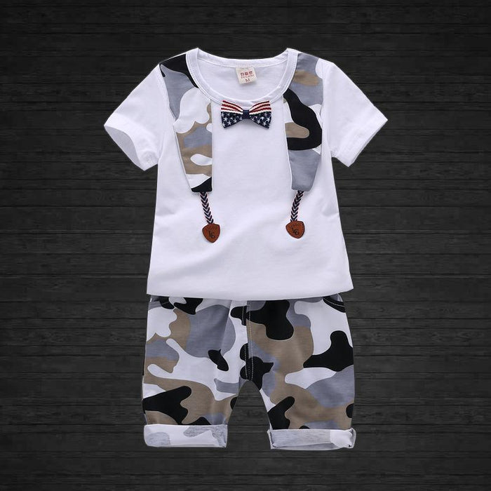 Camouflage Pattern T-Shirt and Pant Set With Bow - shopfils.com