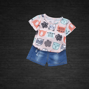 Animal Printed 2Pc Summer Top and Short Set for Kids