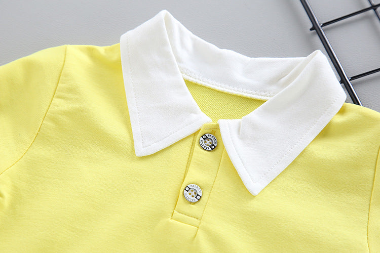 Yellow T-shirt with Blue Dungree 2pcs Set for Little Boys