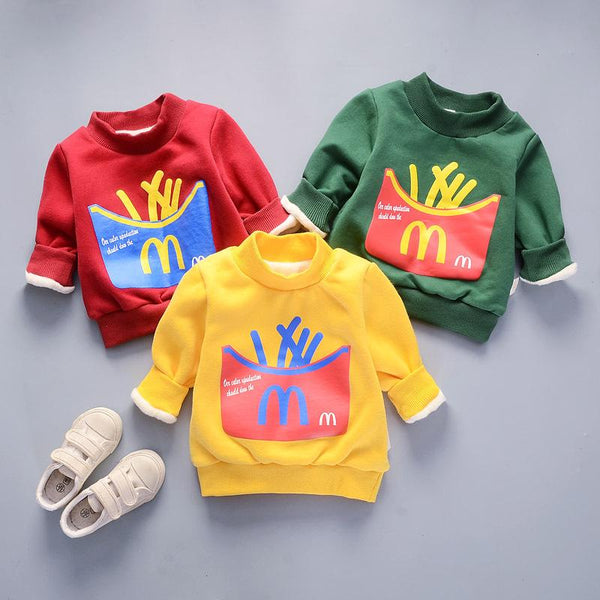 McFries Winter Pullover Plush Sweat Top for Boys Green