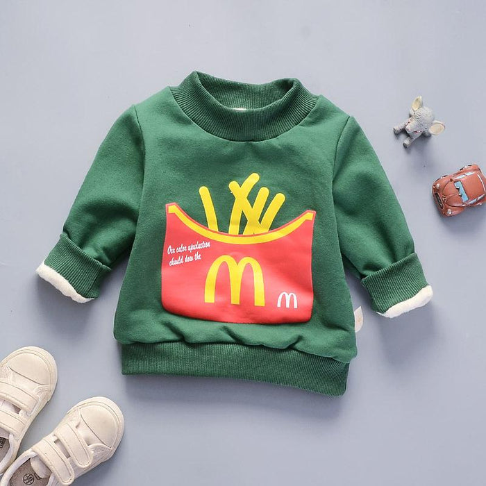 McFries Winter Pullover Plush Sweat Top for Boys Green - shopfils.com