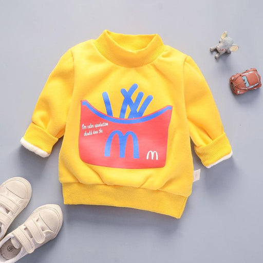 McFries Winter Pullover Plush Sweat Top for Boys Yellow - shopfils.com