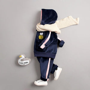 Bee Winter Jacket and Bottom Set for Infants Blue
