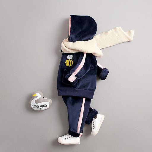 Bee Winter Jacket and Bottom Set for Infants Blue - shopfils.com