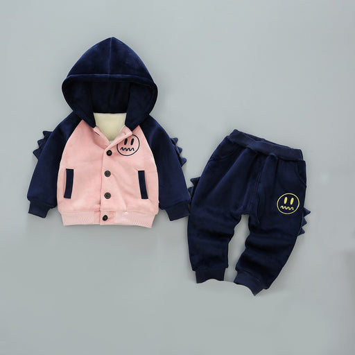 Velvet Spike Jacket and Bottom Set for Infants Pink - Shopfils.com