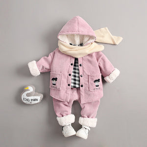 3Pc Winter Plush Jacket Top and Bottom Set for Girls