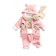 Piggy 3 Pcs Casual Winter Set for Kids - Pink