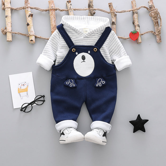 2 Pc Winter Plush Dungree Set for Boys Blue - shopfils.com