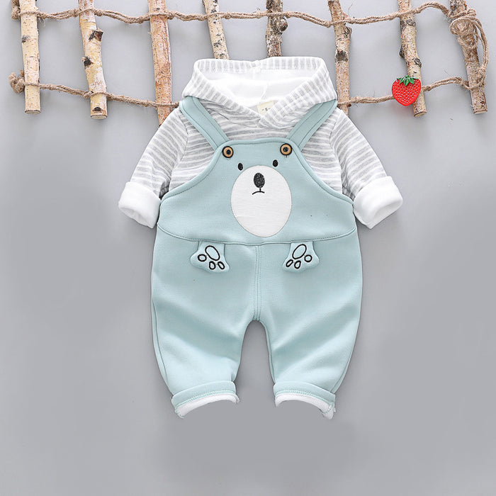 2 Pc Winter Plush Dungree Set for Boys Sky - shopfils.com