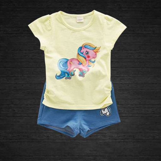Unicorn Printed 2 Pc Summer Top and Short Set for Girls - Yellow - shopfils.com
