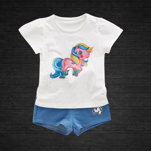 Unicorn Printed 2 Pc Summer Top and Short Set for Girls