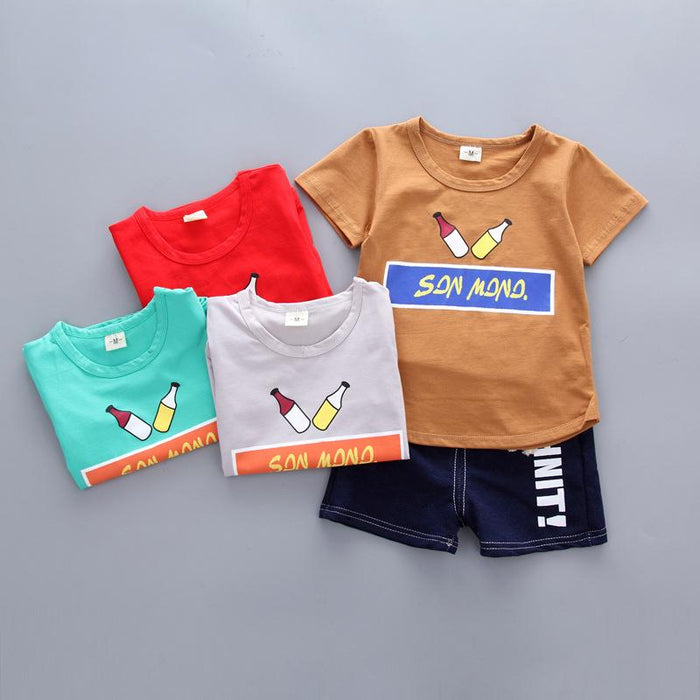 Bottles Printed 2Pc summer Tee and Short Set for Boys - shopfils.com