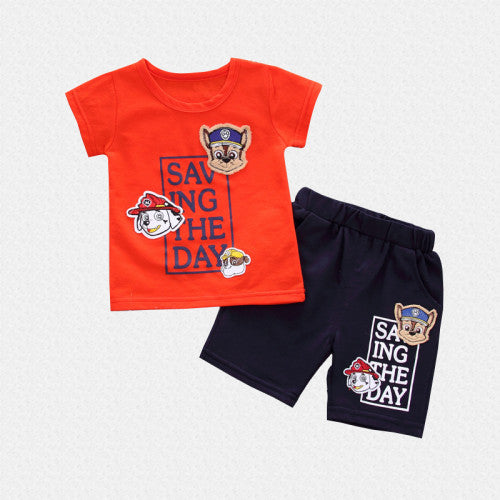 Puppy Printed Summer Tee and Short Set for Boys - shopfils.com
