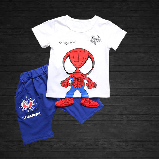 Spider Baby Printed 2pc  Tee and Short Set for Boys - White and Blue - shopfils.com