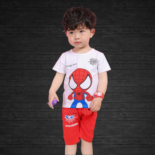 Spider Baby Printed 2pc  Tee and Short Set for Boys - White and Red - shopfils.com
