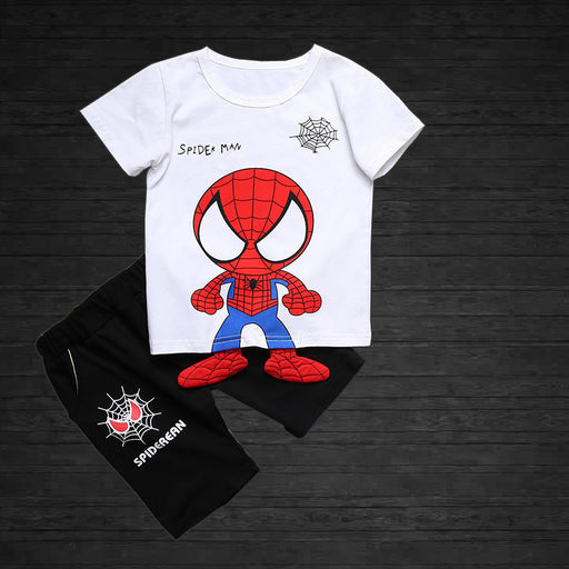 Spider Baby Printed 2pc  Tee & Short Set for Boys - White and Black - shopfils.com