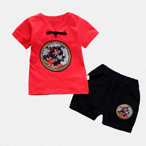 Embroidered Red Summer Tee and Short Set for Boys - shopfils.com