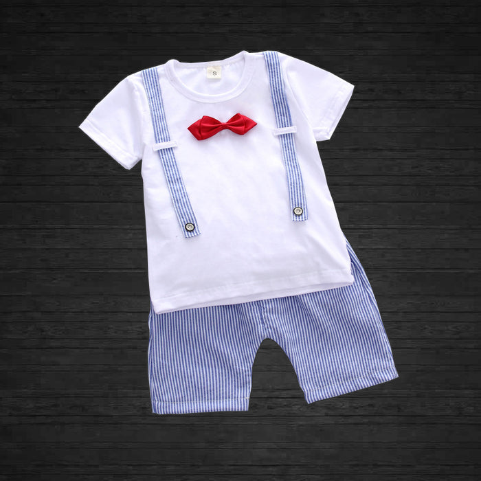 Summer Tee With Bow & Short Set for Boys
