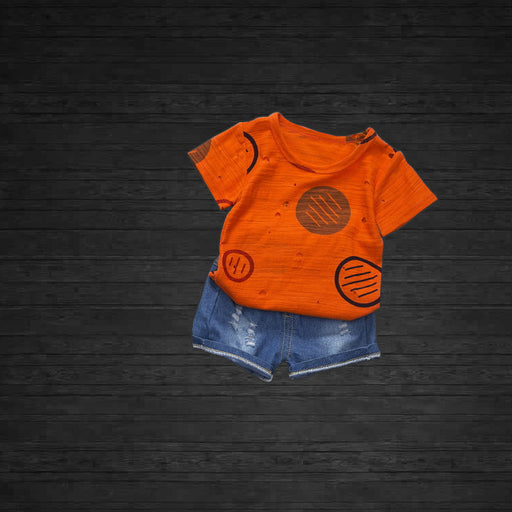 Printed Orange 2Pc Tee and Short Set for Little Kids - shopfils.com