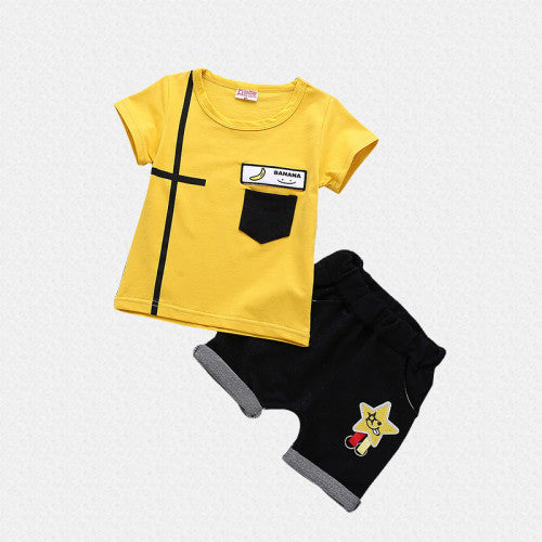 Banana and star printed 2Pc Tee and Short Set for Boys - shopfils.com