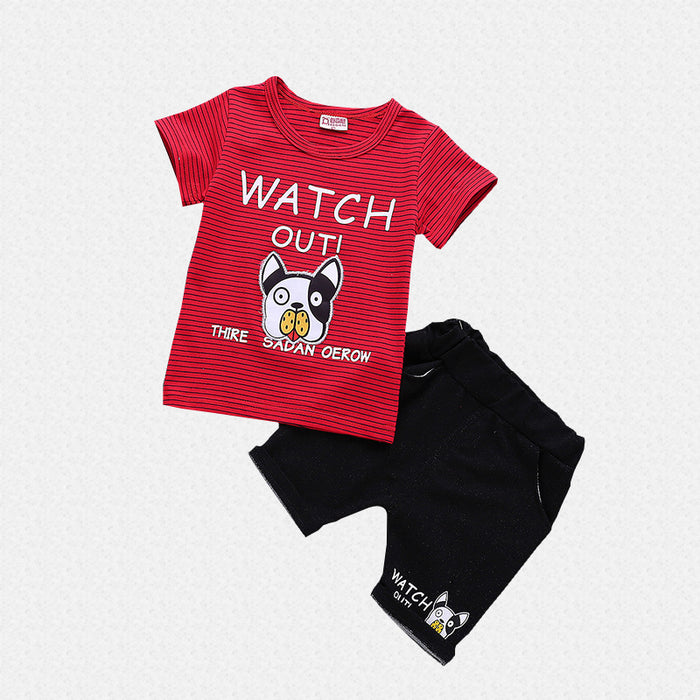 Watch out Dog Printed 2Pc Tee and Short Set for Boys - shopfils.com