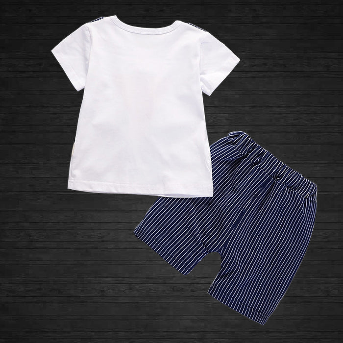 Striped Half Sleeves T-Shirt And Short Set - shopfils.com