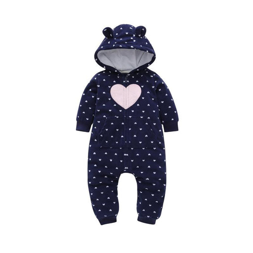 Pink Heart Printed Winter Hoodie Romper for Infants - shopfils.com