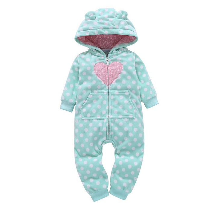 Heart Printed Winter Hoodie Romper for Infants - shopfils.com