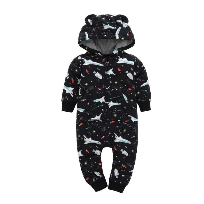 Planes printed Winter Hoodie Romper for Infants - shopfils.com