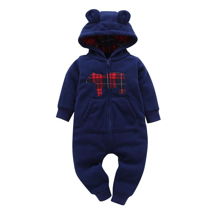 Bear Printed Winter Hoodie Romper for Infants - shopfils.com