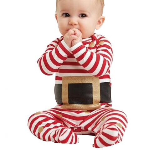 Red Striped Little Santa Romper Overall For Infants Babies -shopfils.com