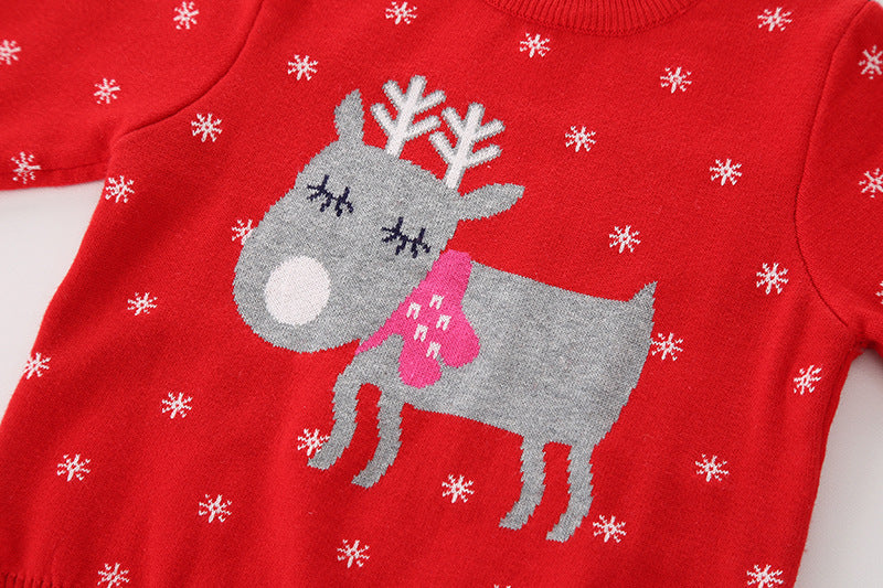 Reindeer Printed Red pure Cotton Soft Sweater for Little Boys and Girls