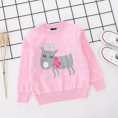 Reindeer Printed pink pure Cotton Soft Sweater for Little Girls