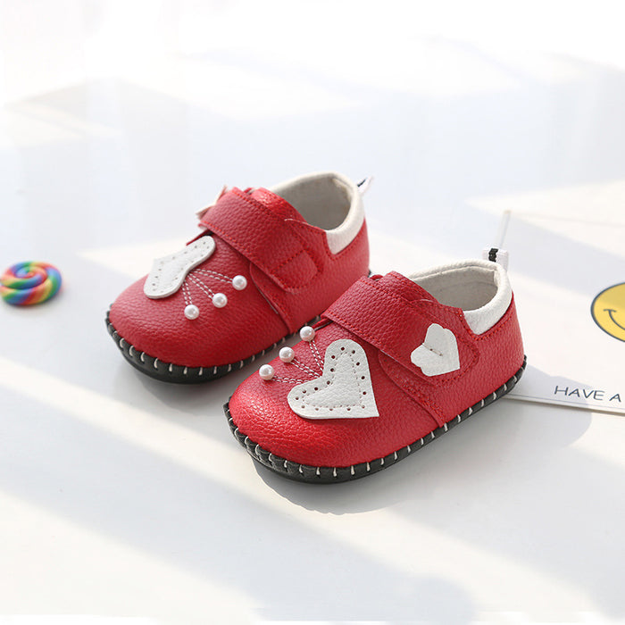 Cute Heart and Pearl Shoes for Infants - Red - shopfils.com