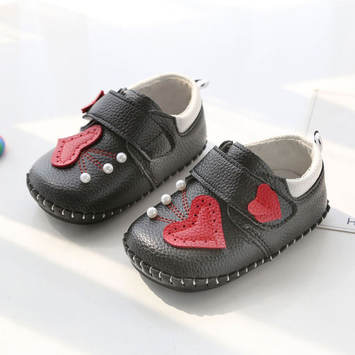 Cute Heart and Pearl Shoes for Infants - Black - shopfils.com