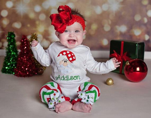Santa Printed Christmas Onesie with Leg warmer 2pcs set for Cute little Girls