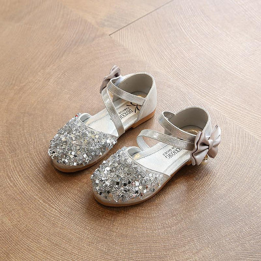 Sequins Bow Pearl slip on hook and loop silver sandals for girls - shopfils.com