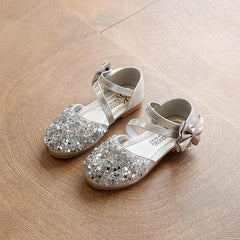 Sequins Bow Pearl slip on hook and loop silver sandals for girls