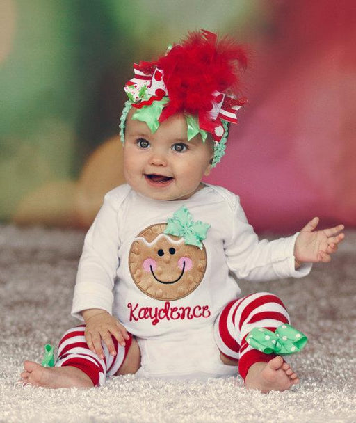 Smiley Face Christmas Onesie with Leg warmer 2pcs set for Cute little Girls - shopfils.com