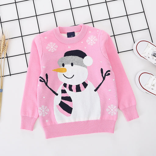 Snowman Printed Pink pure Cotton Soft Sweater for Little Girls-shopfils.com