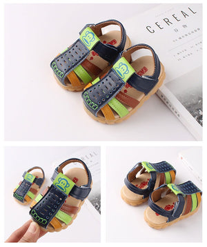 Soft Leather Closed Toe Multi-color hook and loop sandals for little ones
