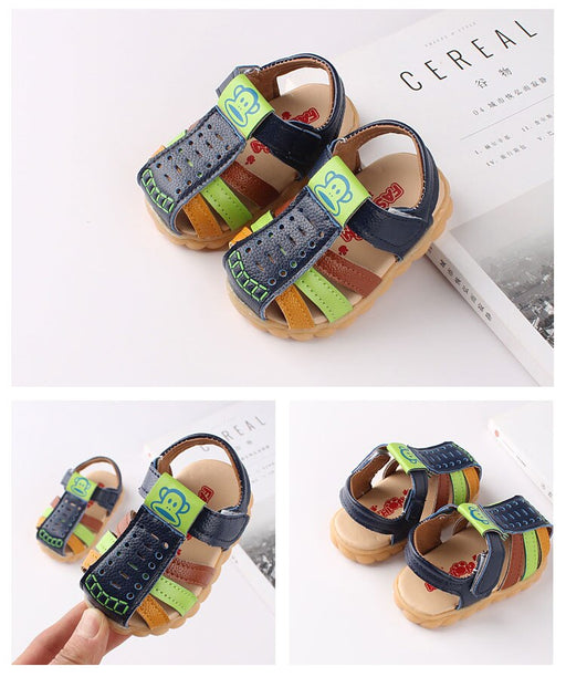 Soft Leather Closed Toe Multi-color hook and loop sandals for little ones-shopfils.com