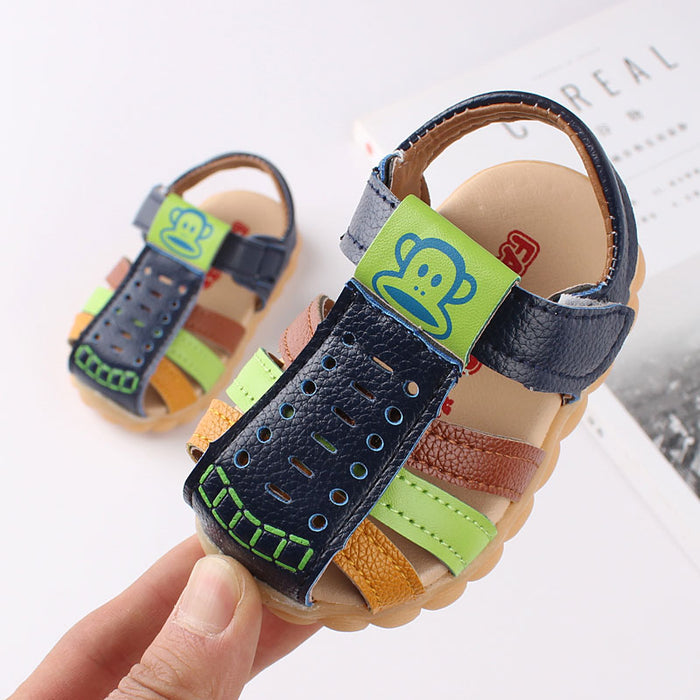 Soft Leather Closed Toe Multi-color hook and loop sandals for little ones - shopfils.com