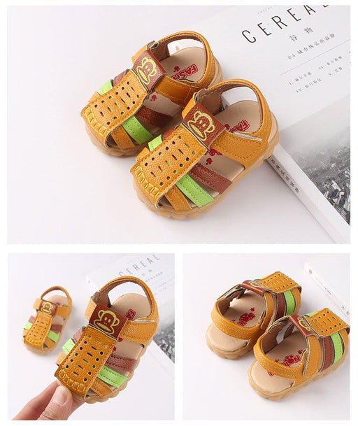 Soft Leather Closed Toe Multi-color hook and loop sandals for little ones with yellow belts - shopfils.com